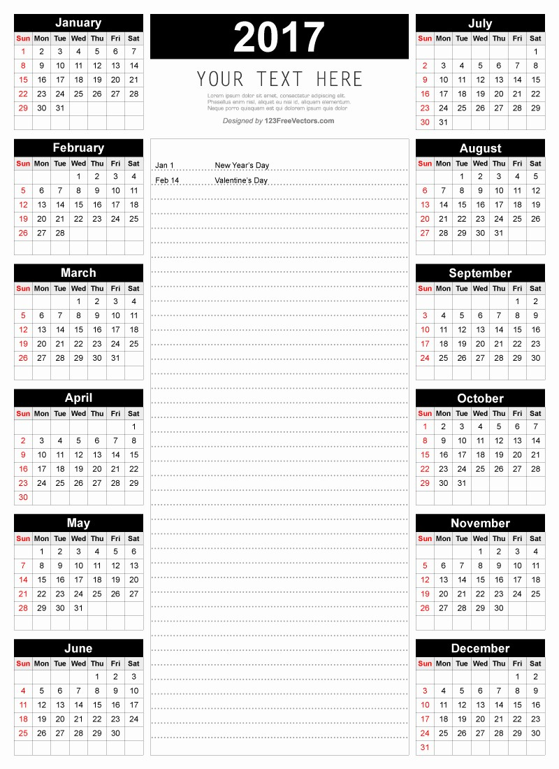 2017 Calendar Template with Notes Inspirational Printable 2017 Calendar Template with Notes