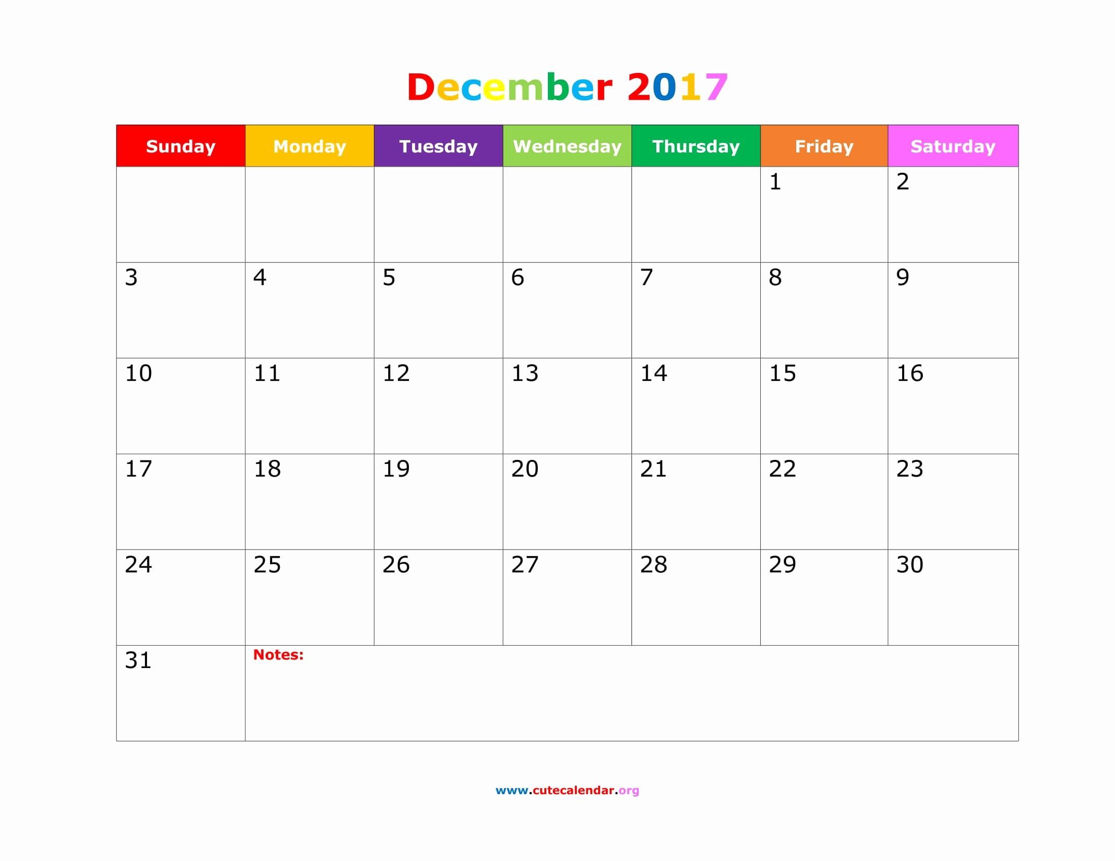 2017 Calendar Template with Notes Lovely December 2017 Calendar Cute