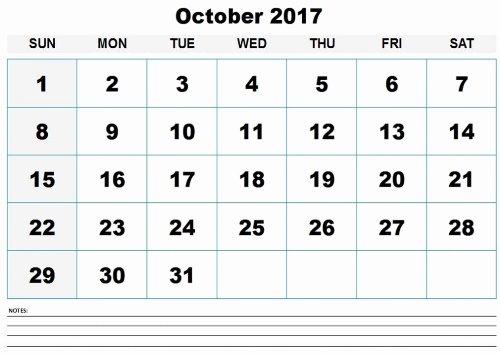 2017 Calendar Template with Notes Lovely October 2017 Calendar with Notes