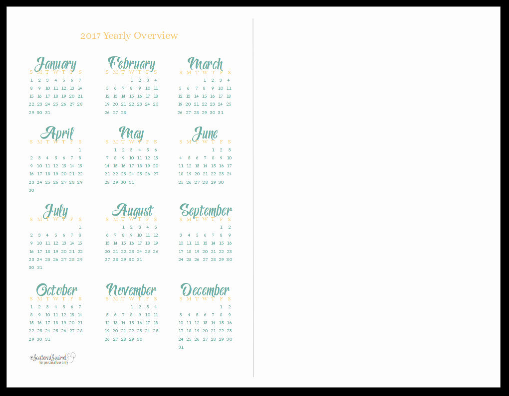 2017 Calendar Template with Notes Luxury 2017 Yearly Calendar Printables are Here