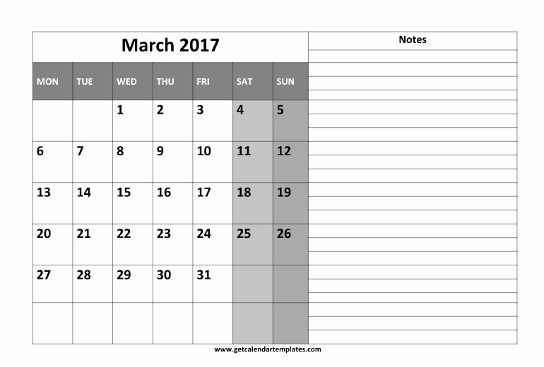 2017 Calendar Template with Notes Luxury Free Calendar Templates with Notes Section Free Calendar