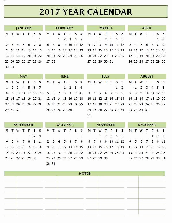 2017 Calendar Template with Notes New 2017 Calendar Templates