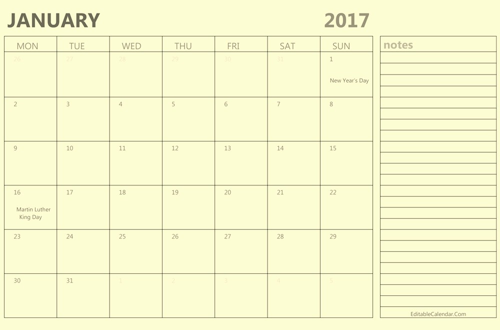 2017 Calendar Template with Notes New Calendar 2017