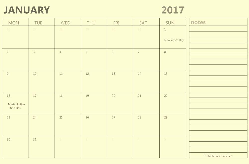 2017 Calendar Template with Notes New Calendar 2017