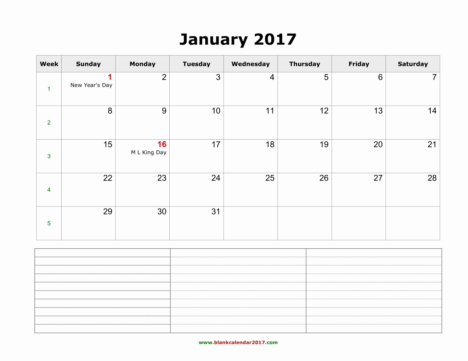 2017 Calendar Template with Notes New Fill In Calendar Template Monthly 2017 Calendar Notes