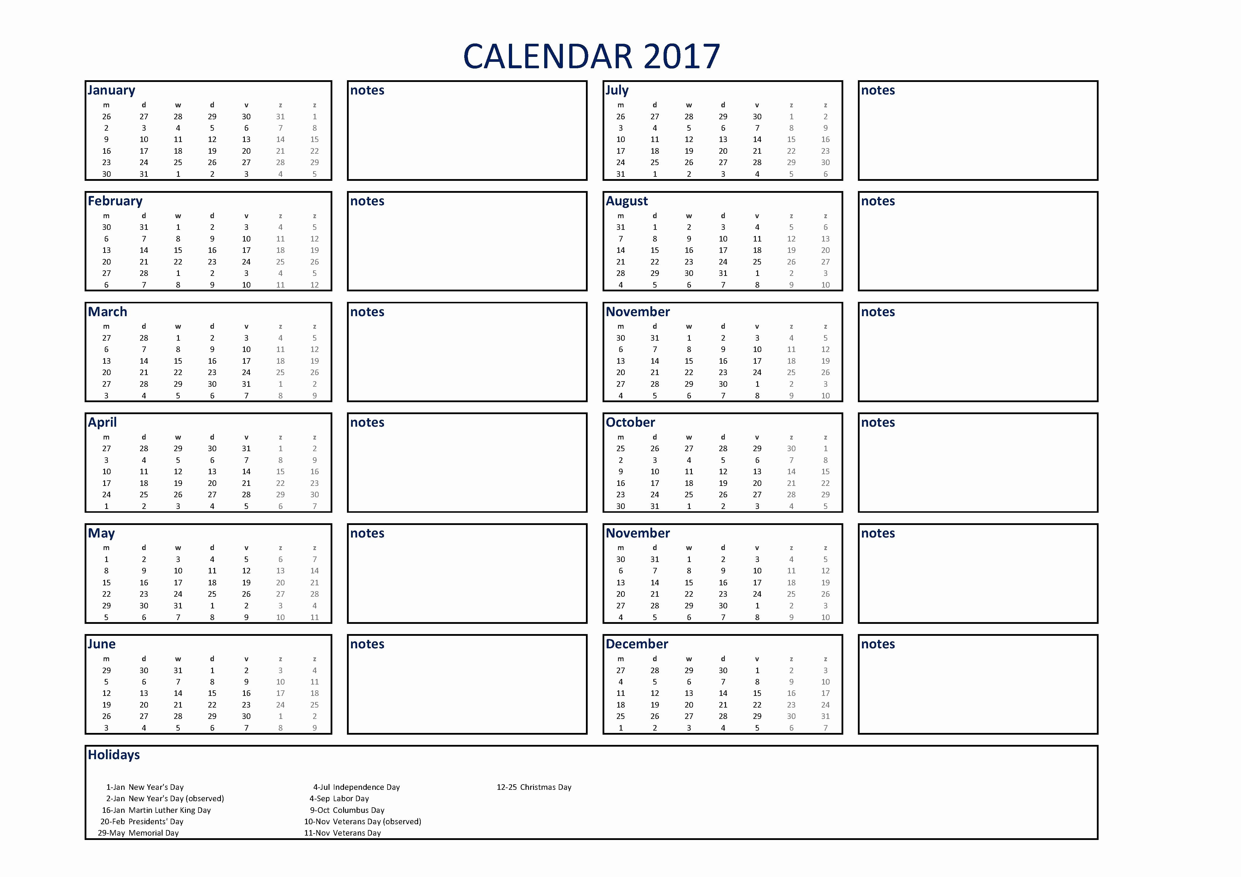 2017 Calendar Template with Notes New Free 2017 Calendar Excel A3 with Notes