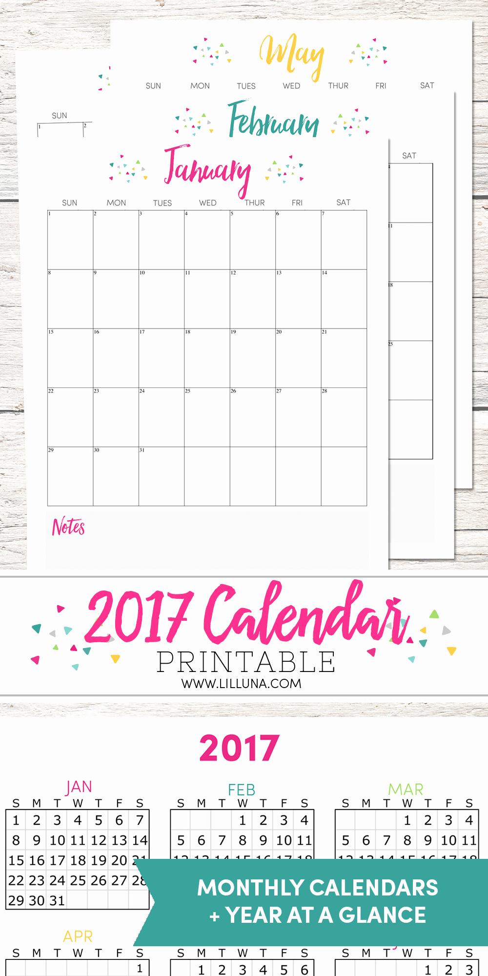 2017 Calendar Template with Notes New Free 2017 Calendar