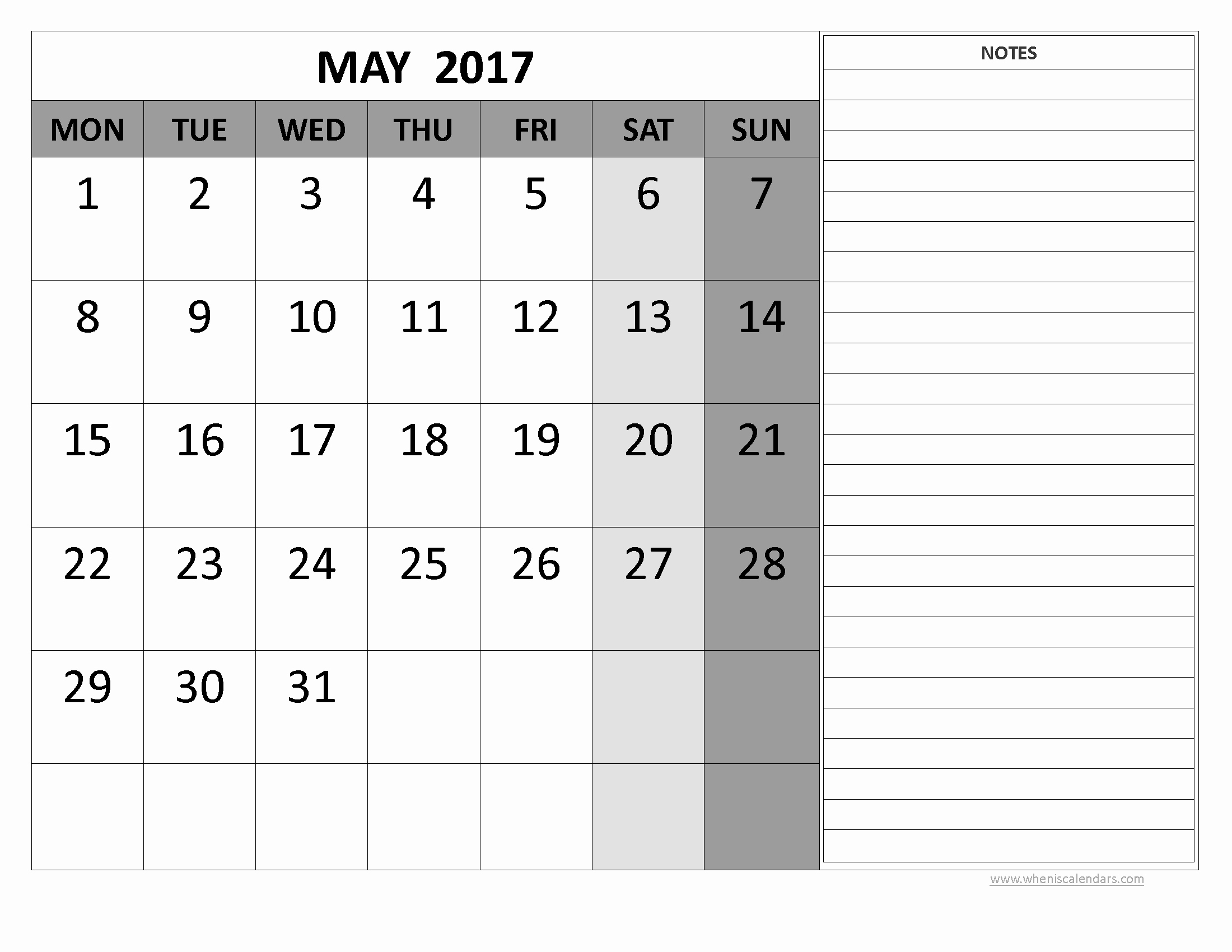 2017 Calendar Template with Notes Unique May 2017 Calendar Word