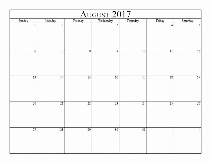 2017 Calendar Template Word Document Awesome August 2017 Calendar Word