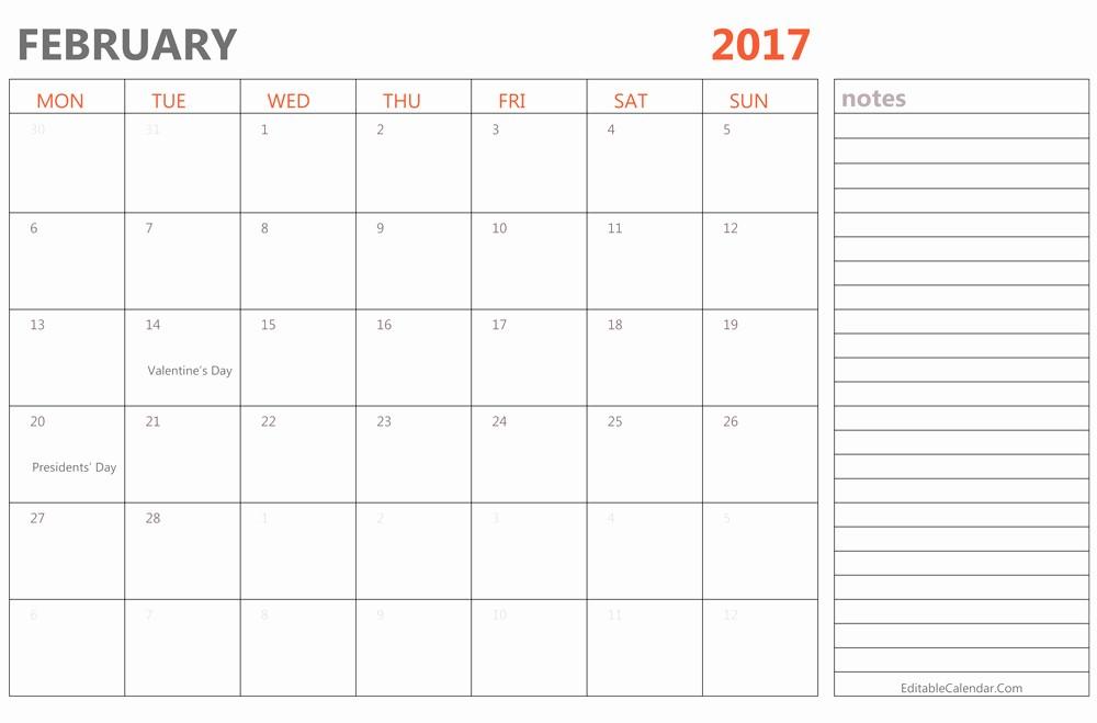 2017 Calendar Template Word Document Best Of Editable February 2017 Calendar Template Ms Word