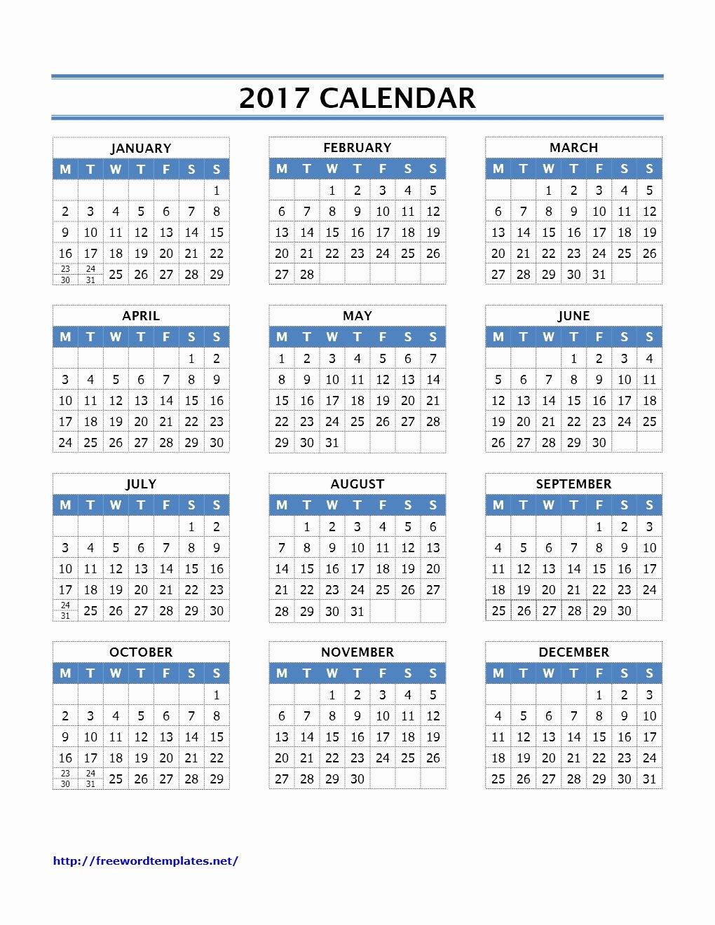 2017 Calendar Template Word Document Lovely 2017 Calendar Templates