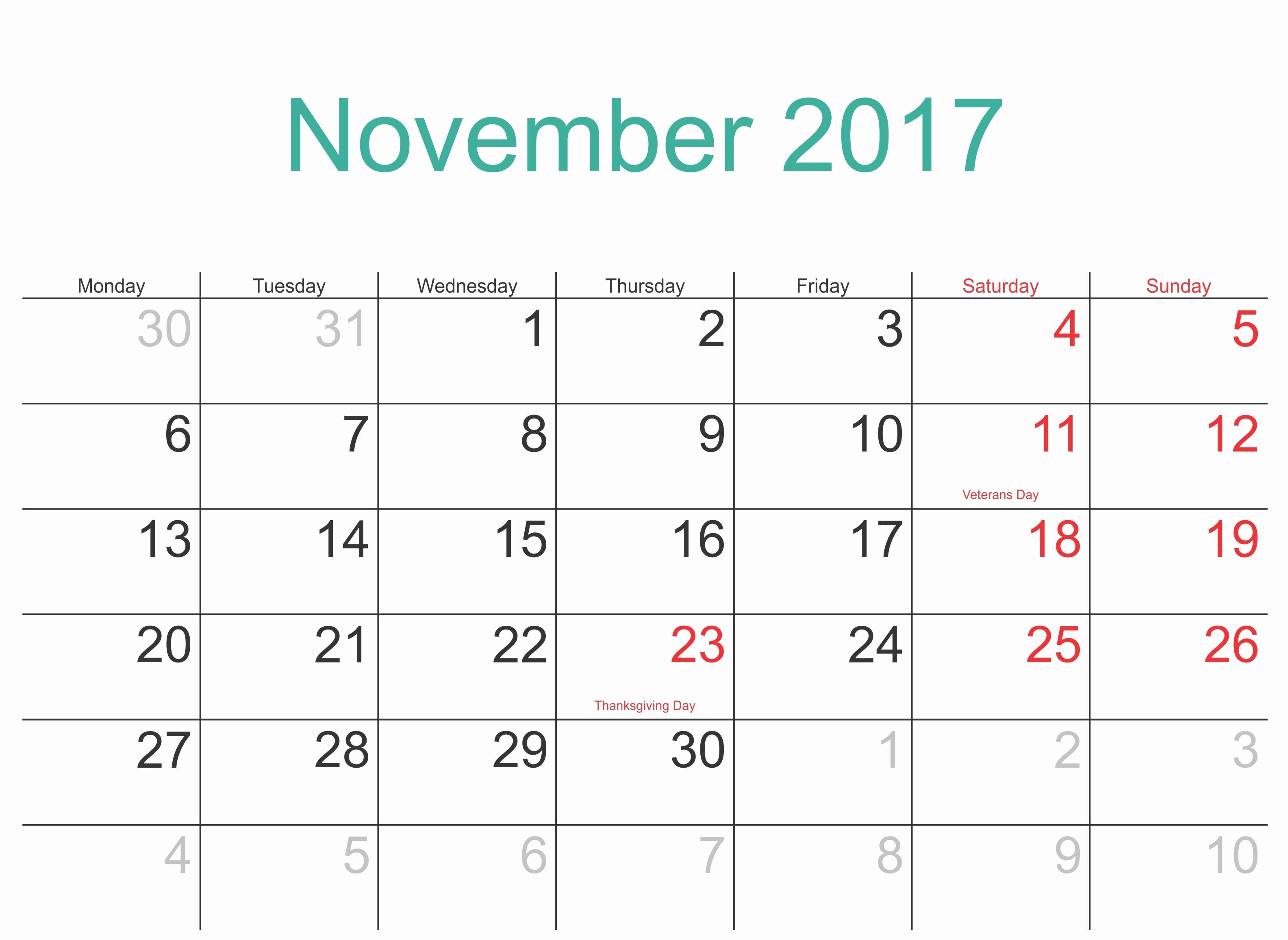2017 Calendar Template Word Document Lovely November 2017 Printable Calendar Template Holidays Excel