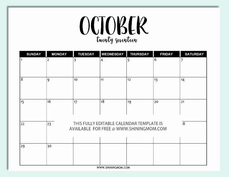 2017 Calendar Template Word Document New Free Printable Fully Editable 2017 Calendar Templates In