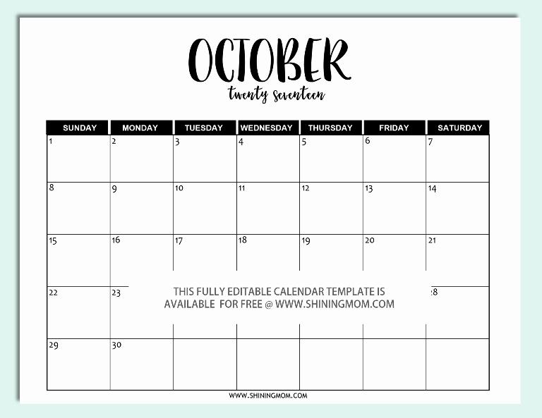 2017 Calendar Template Word Document New Free Printable Fully Editable 2017 Calendar Templates In