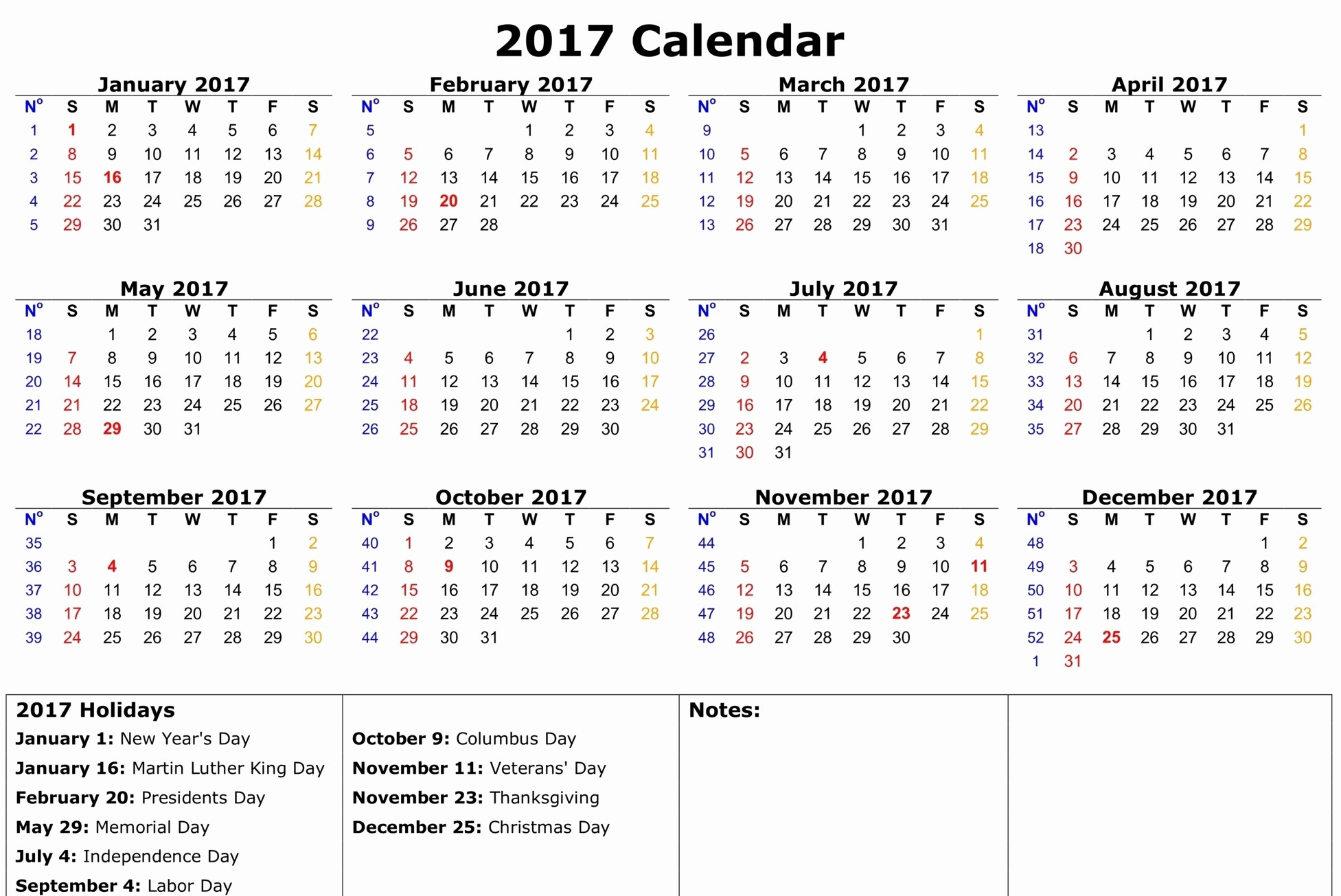 2017 Calendar with Holidays Template Awesome 2017 Calendar with Holidays [us Uk Canada]