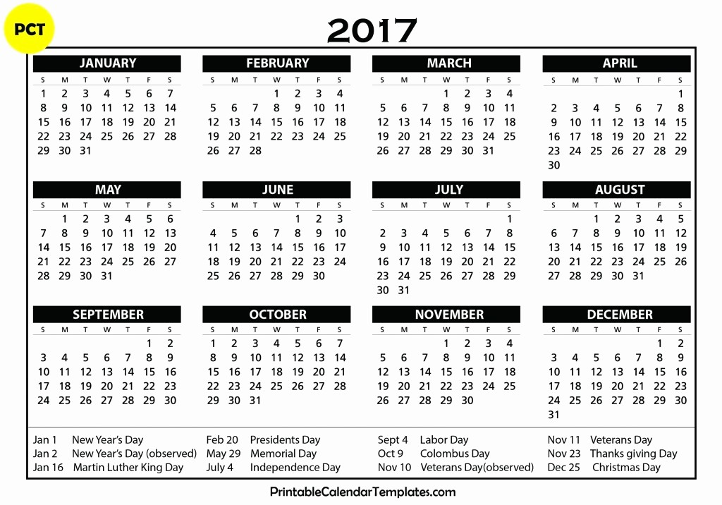 2017 Calendar with Holidays Template Best Of Free Printable Calendar 2017