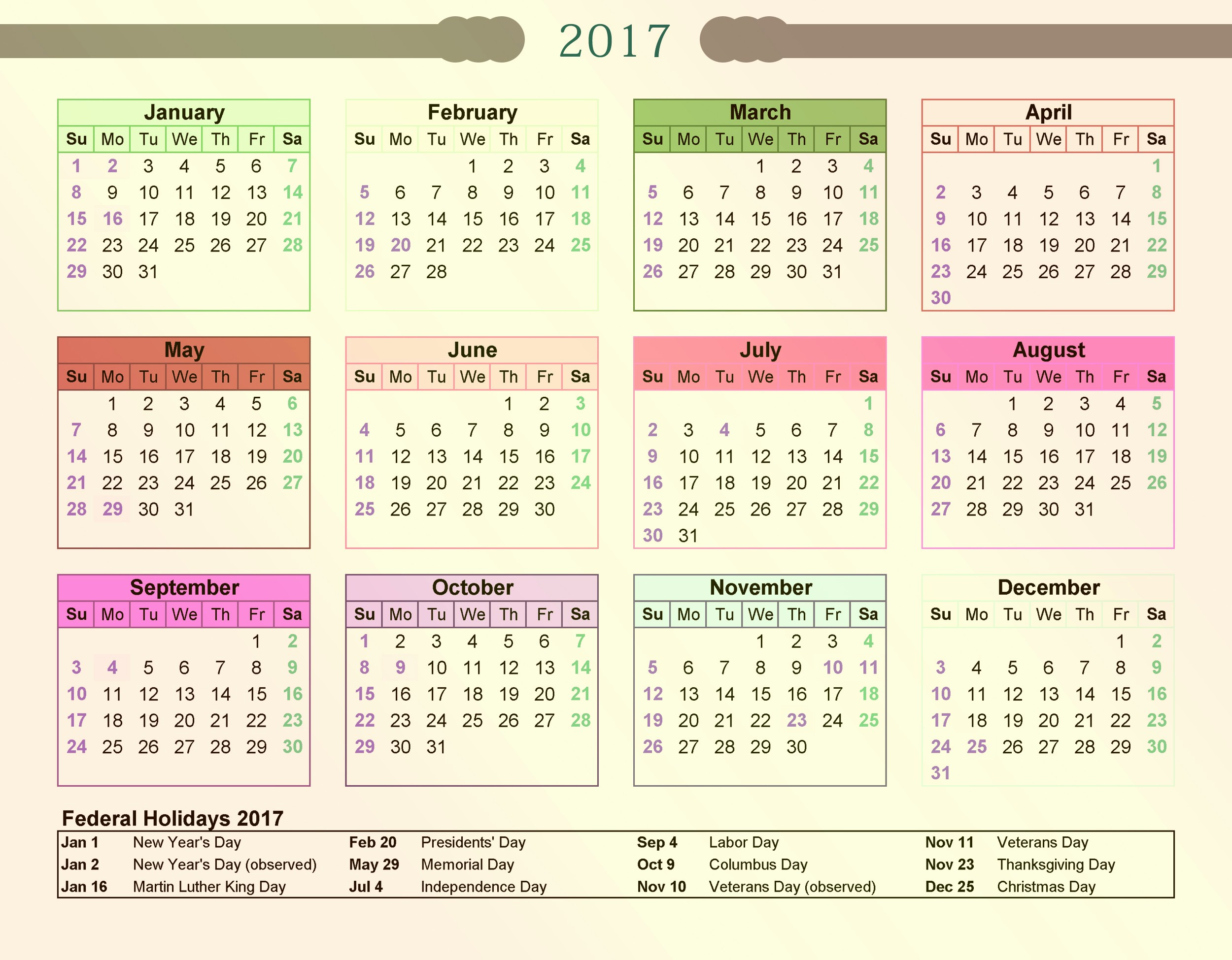 2017 Calendar with Holidays Template Elegant Federal Calendar 2017 with Holidays