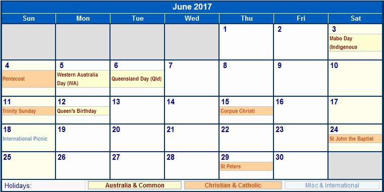 2017 Calendar with Holidays Template Fresh June 2017 Calendar with Holidays