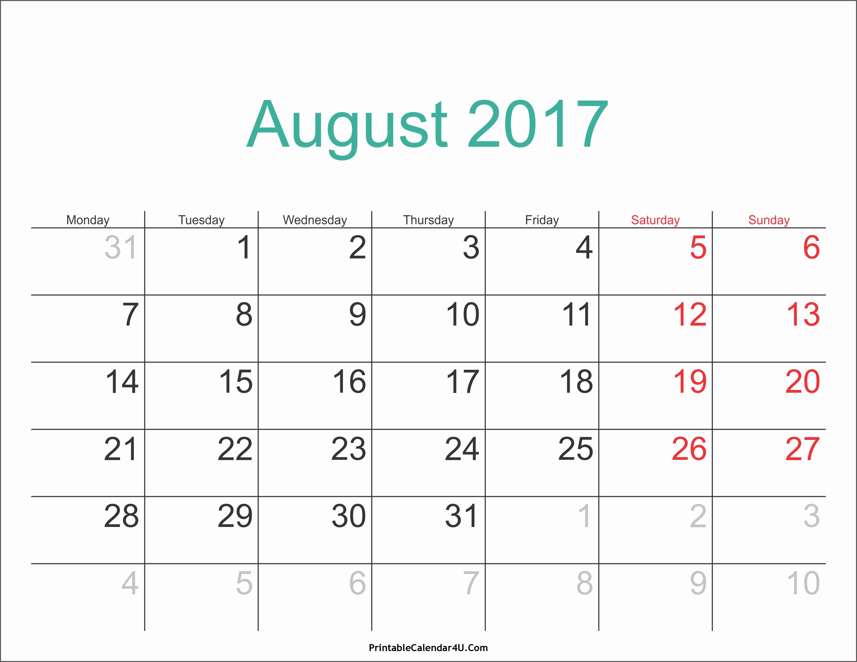 2017 Calendar with Holidays Template Inspirational August 2017 Calendar with Holidays