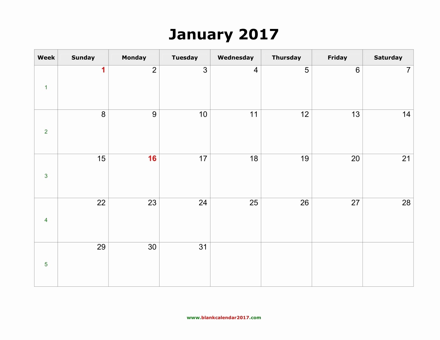 2017 Calendar with Holidays Template Inspirational Blank Calendar January 2017 Landscape