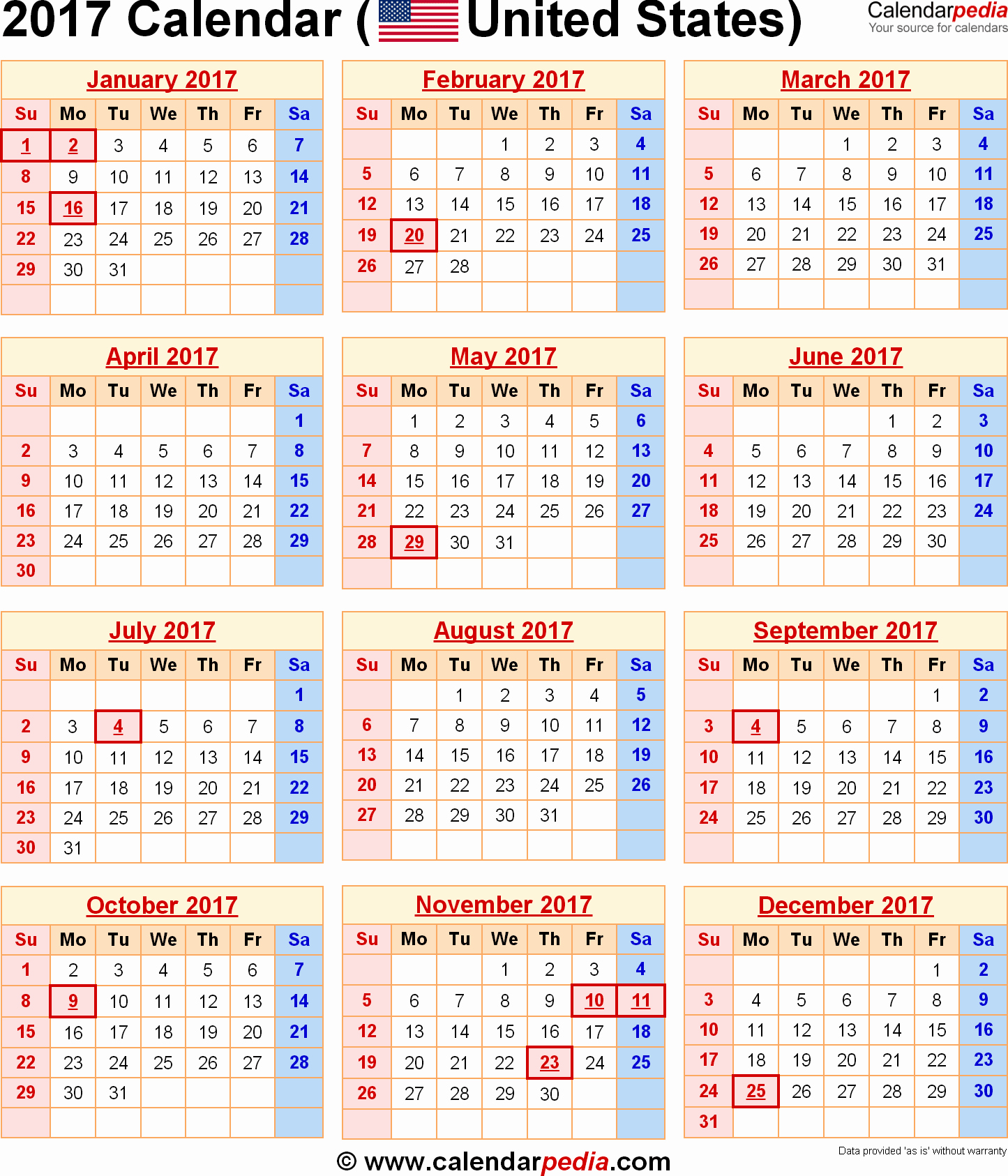 2017 Calendar with Holidays Template Lovely 2017 Calendar with Holidays