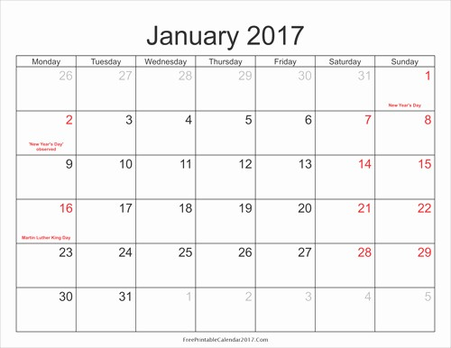 2017 Calendar with Holidays Template Lovely Free 2017 Calendar with Holidays