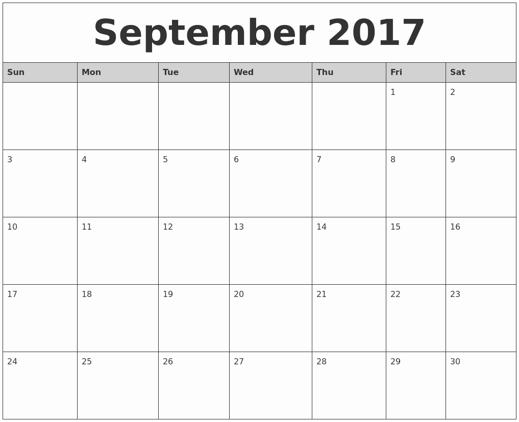 2017 Calendar with Holidays Template Lovely September 2017 Printable Calendar Template Holidays