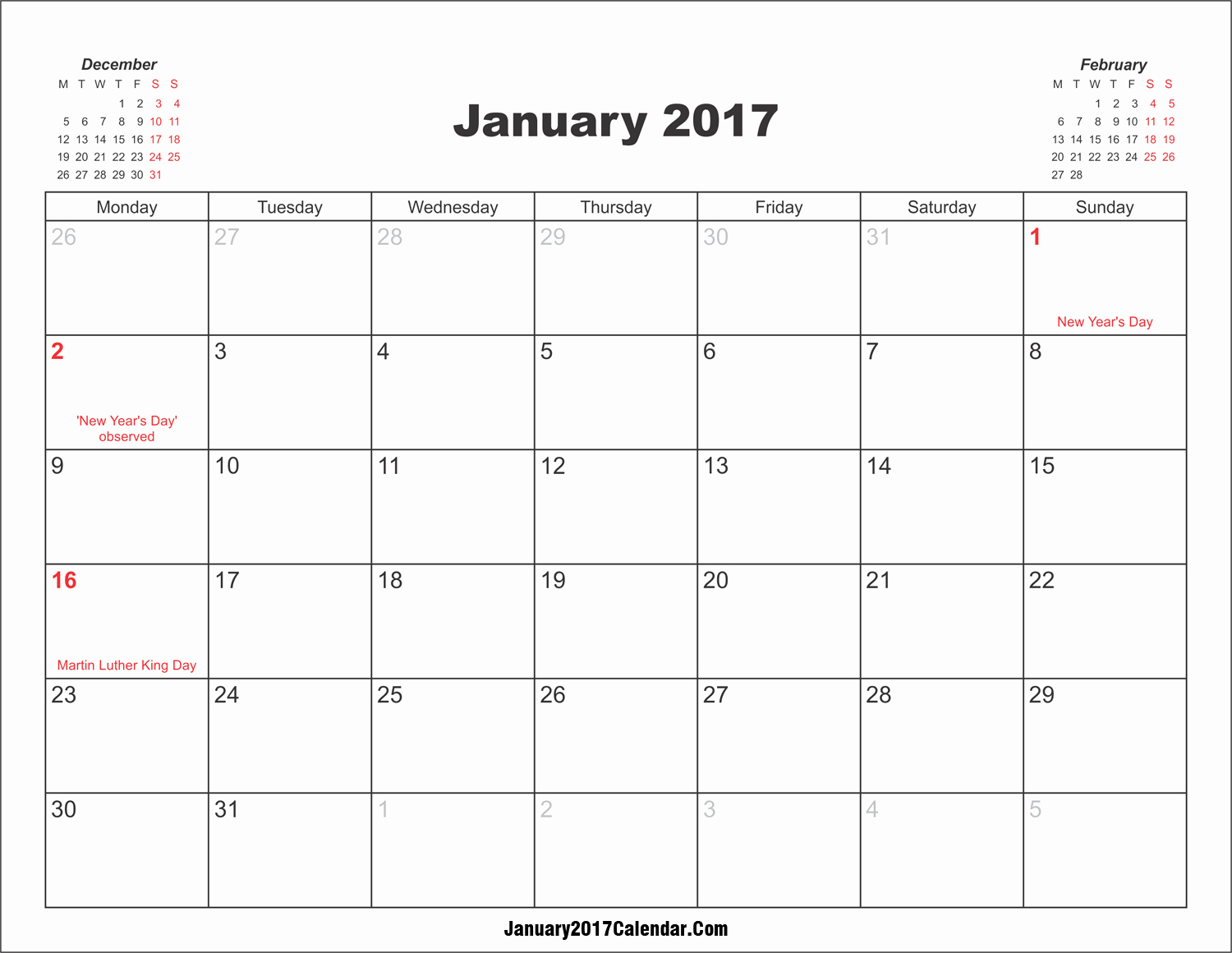 2017 Calendar with Holidays Template Luxury January 2017 Calendar with Holidays