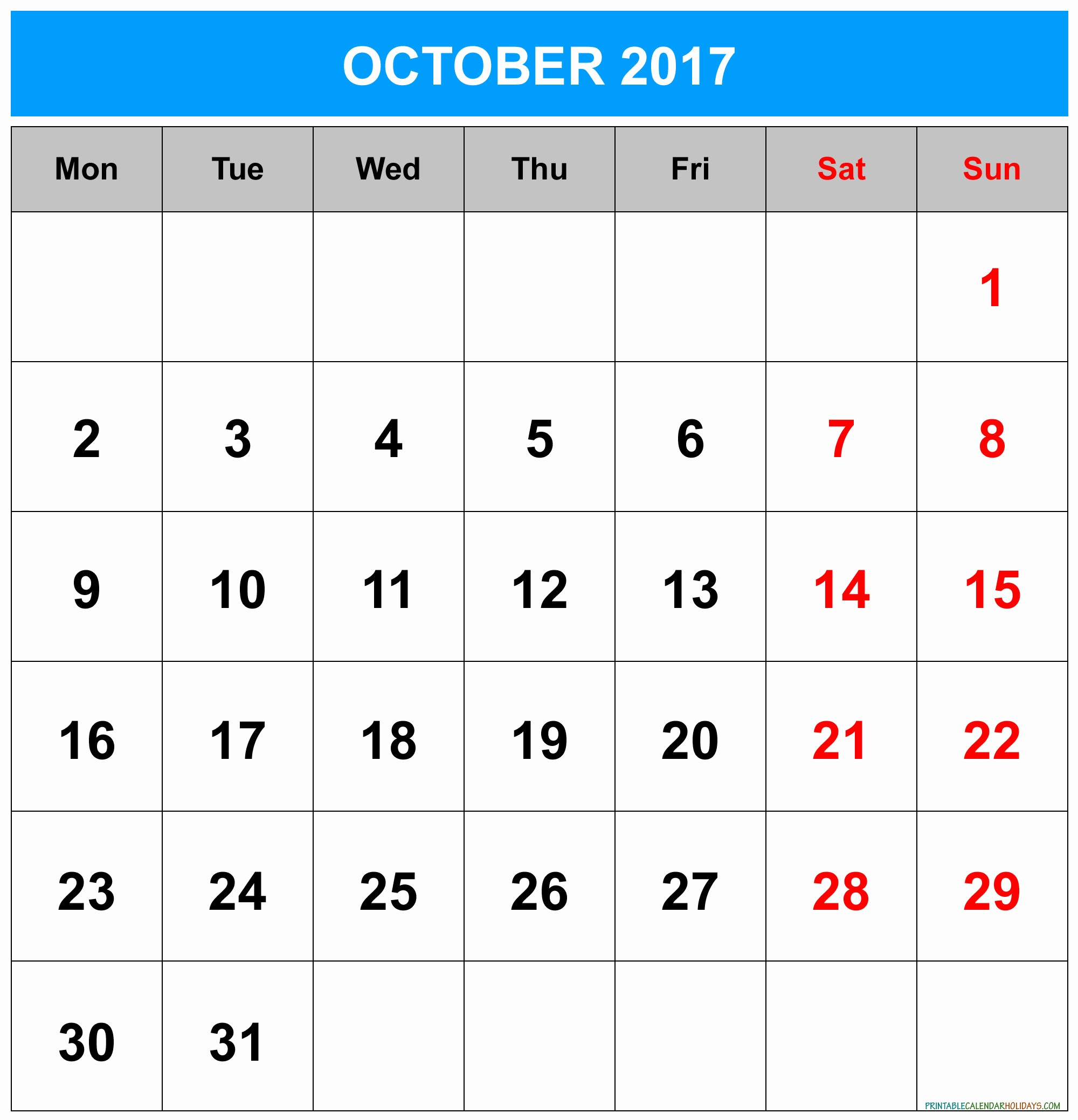 2017 Calendar with Holidays Template Luxury October 2017 Calendar with Holidays
