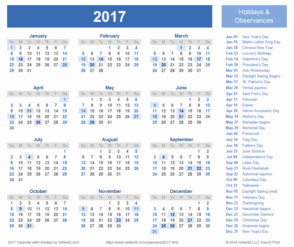 2017 Calendar with Holidays Template New 2017 Calendar Templates and