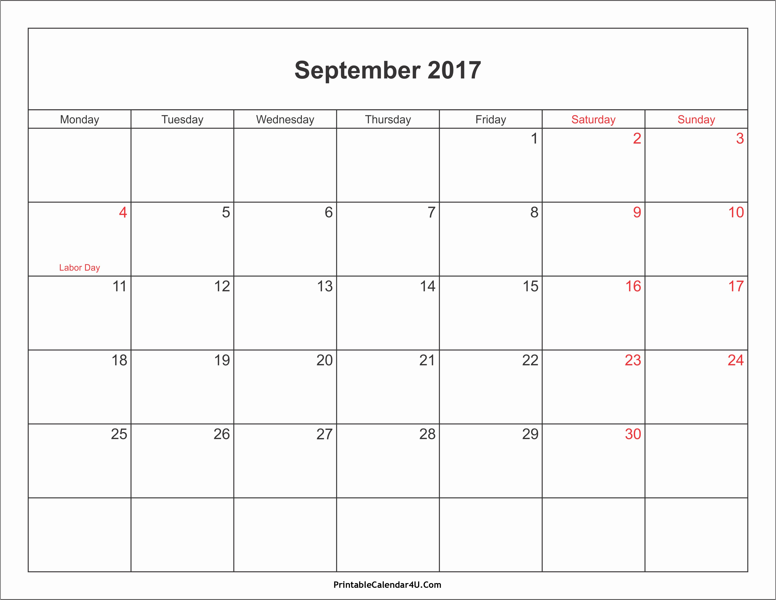 2017 Calendar with Holidays Template New September 2017 Calendar Printable with Holidays