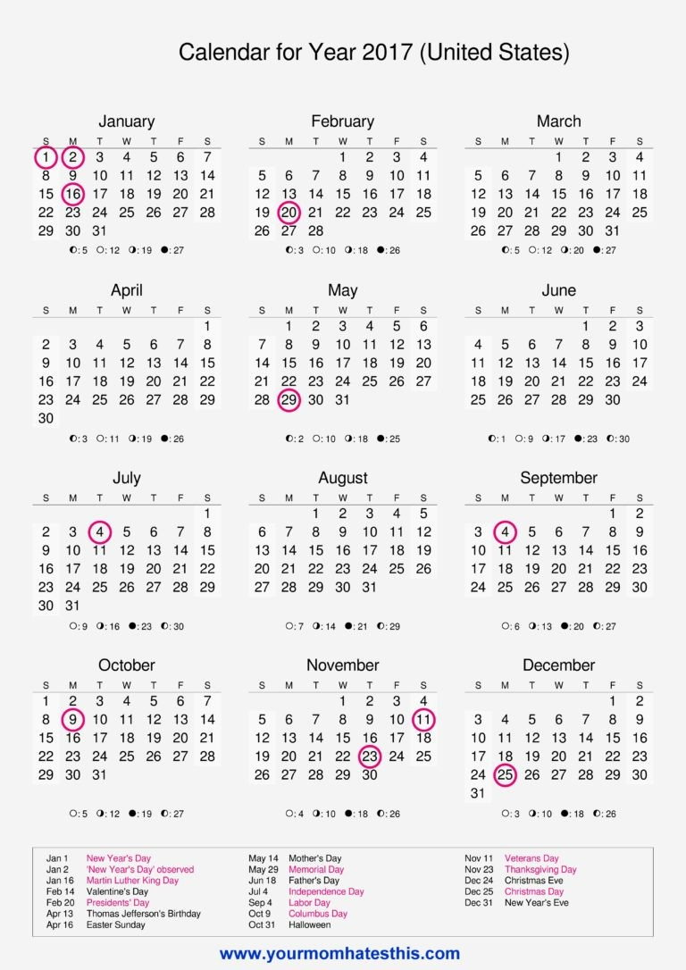 2017 Calendar with Holidays Template Unique 2017 Calendar Templates High Quality Download