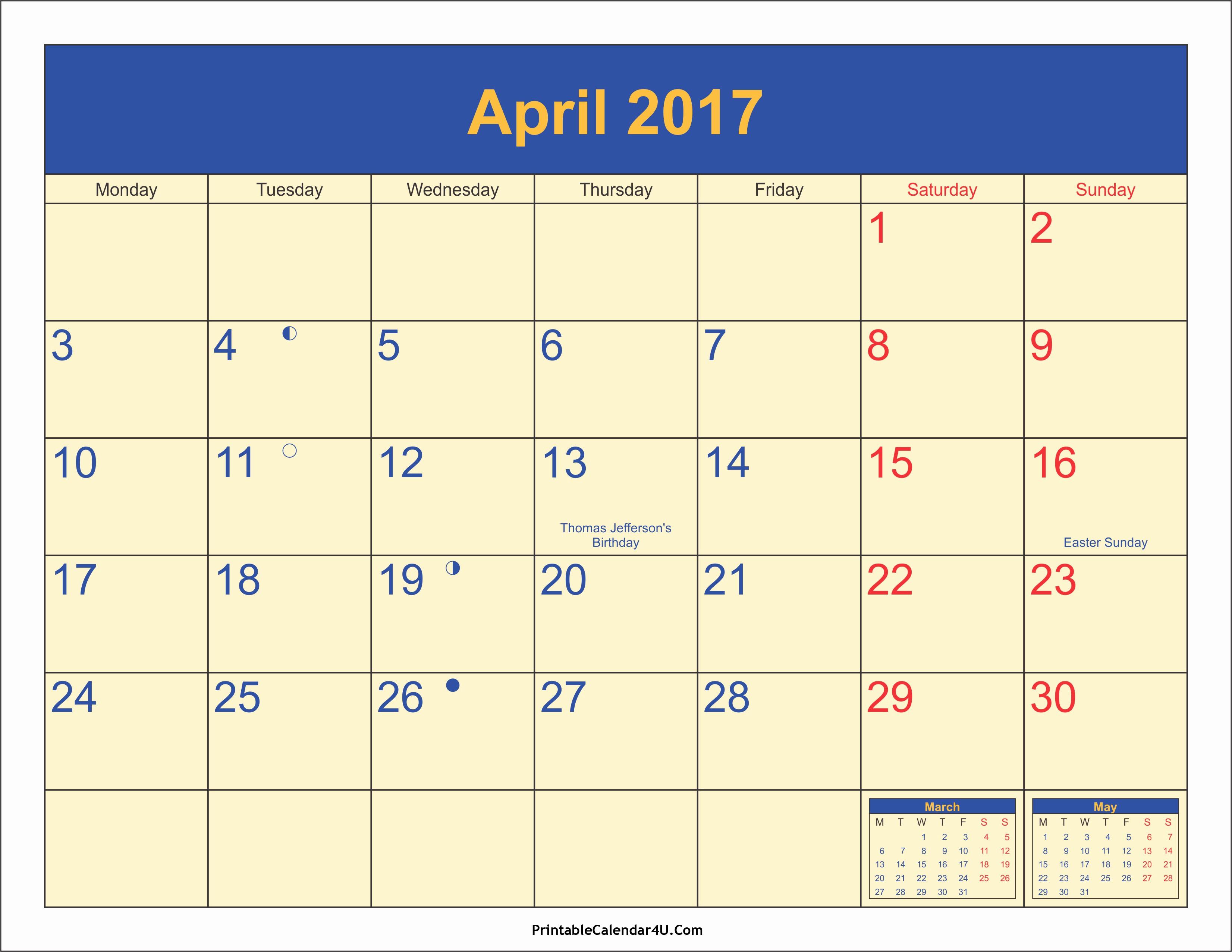 2017 Calendar with Holidays Template Unique April 2017 Calendar with Holidays