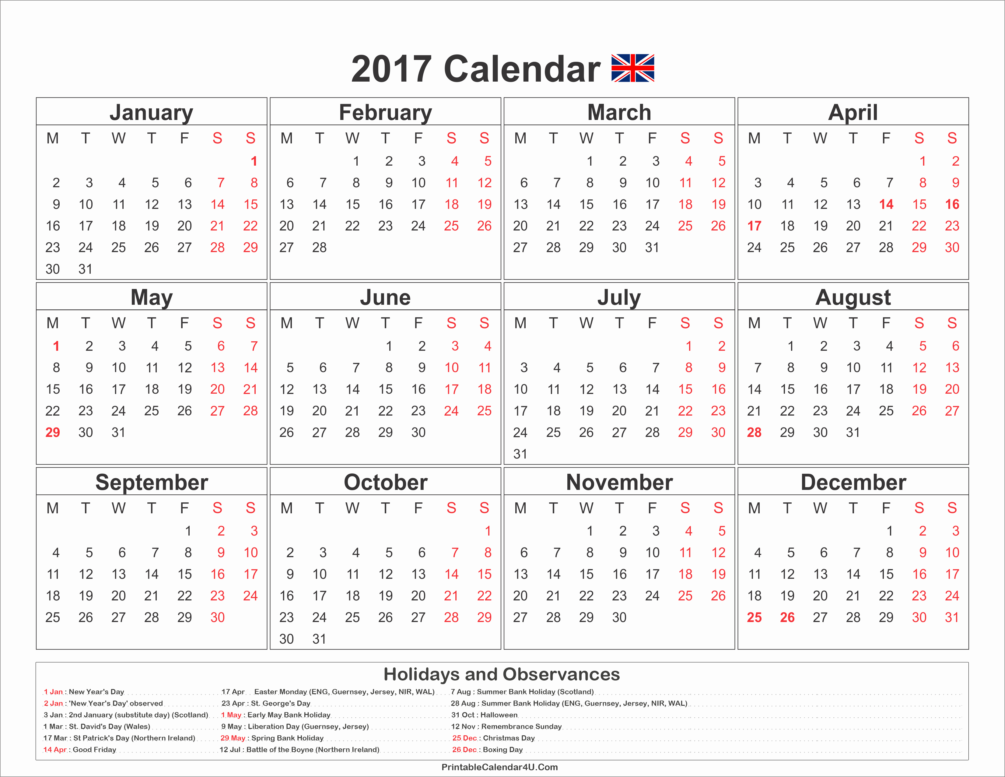 2017 Editable Calendar with Holidays Awesome 2017 Calendar Uk with Holidays Free Printable Calendar 2017