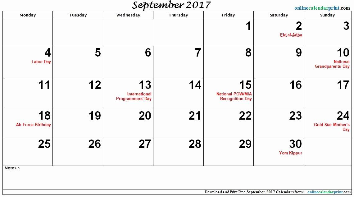 2017 Editable Calendar with Holidays Awesome September 2017 Calendar with Holidays
