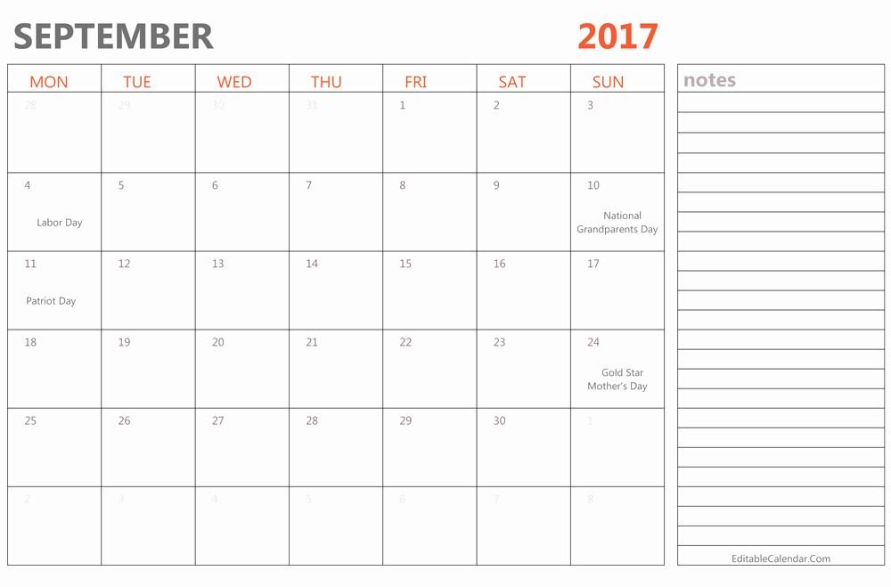 2017 Editable Calendar with Holidays Beautiful Editable September 2017 Calendar Template Ms Word Pdf