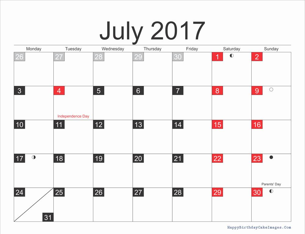 2017 Editable Calendar with Holidays Beautiful July 2017 Calendar with Holidays Calendar Template 2018
