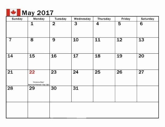 2017 Editable Calendar with Holidays Beautiful May 2017 Calendar Canada