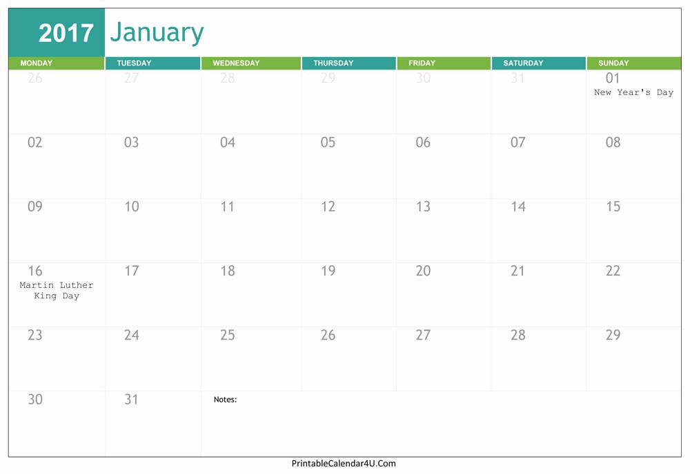 2017 Editable Calendar with Holidays Best Of Editable January 2017 Calendar Word Pdf