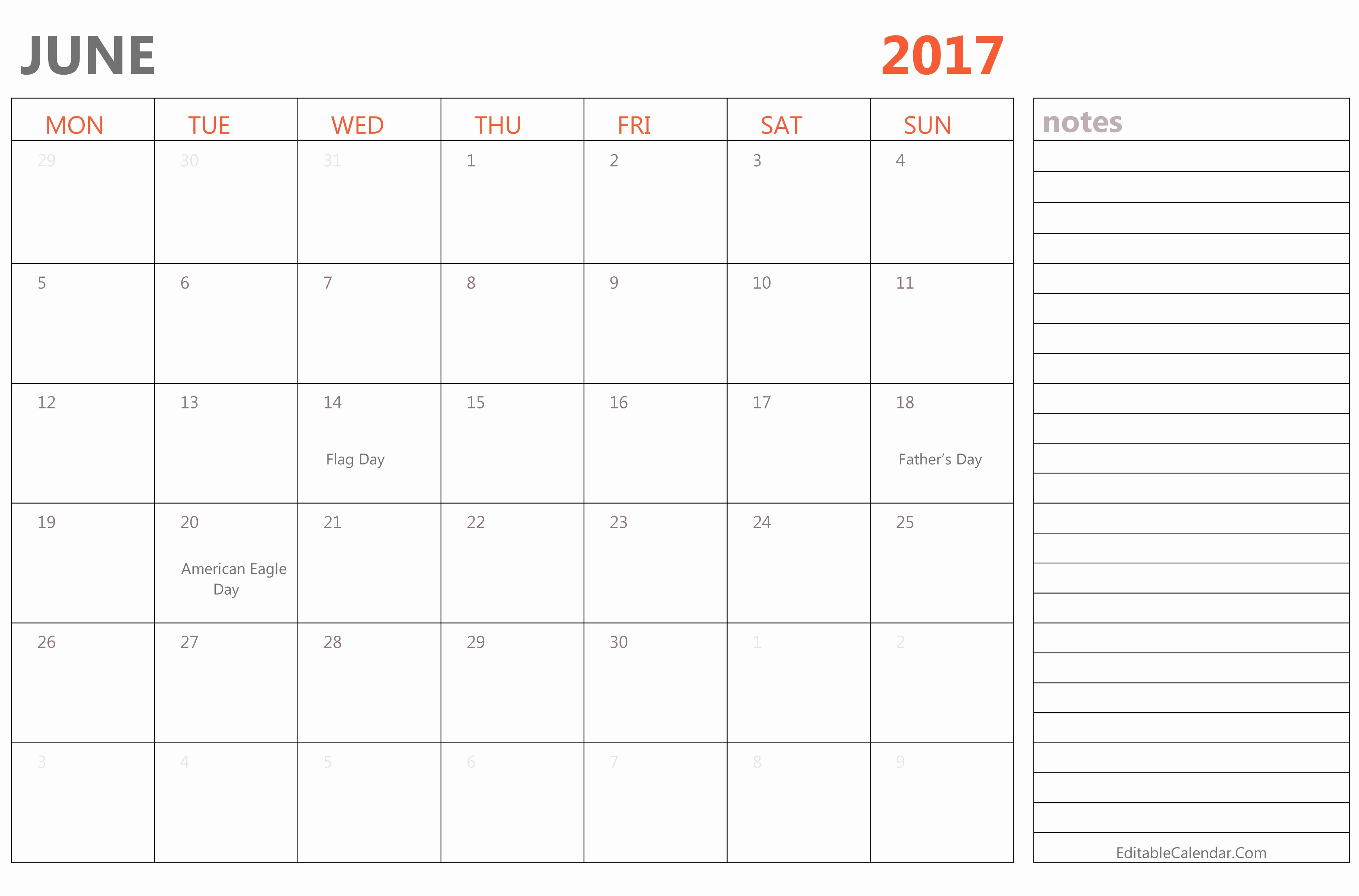 2017 Editable Calendar with Holidays Best Of Editable June 2017 Calendar Template Ms Word Pdf