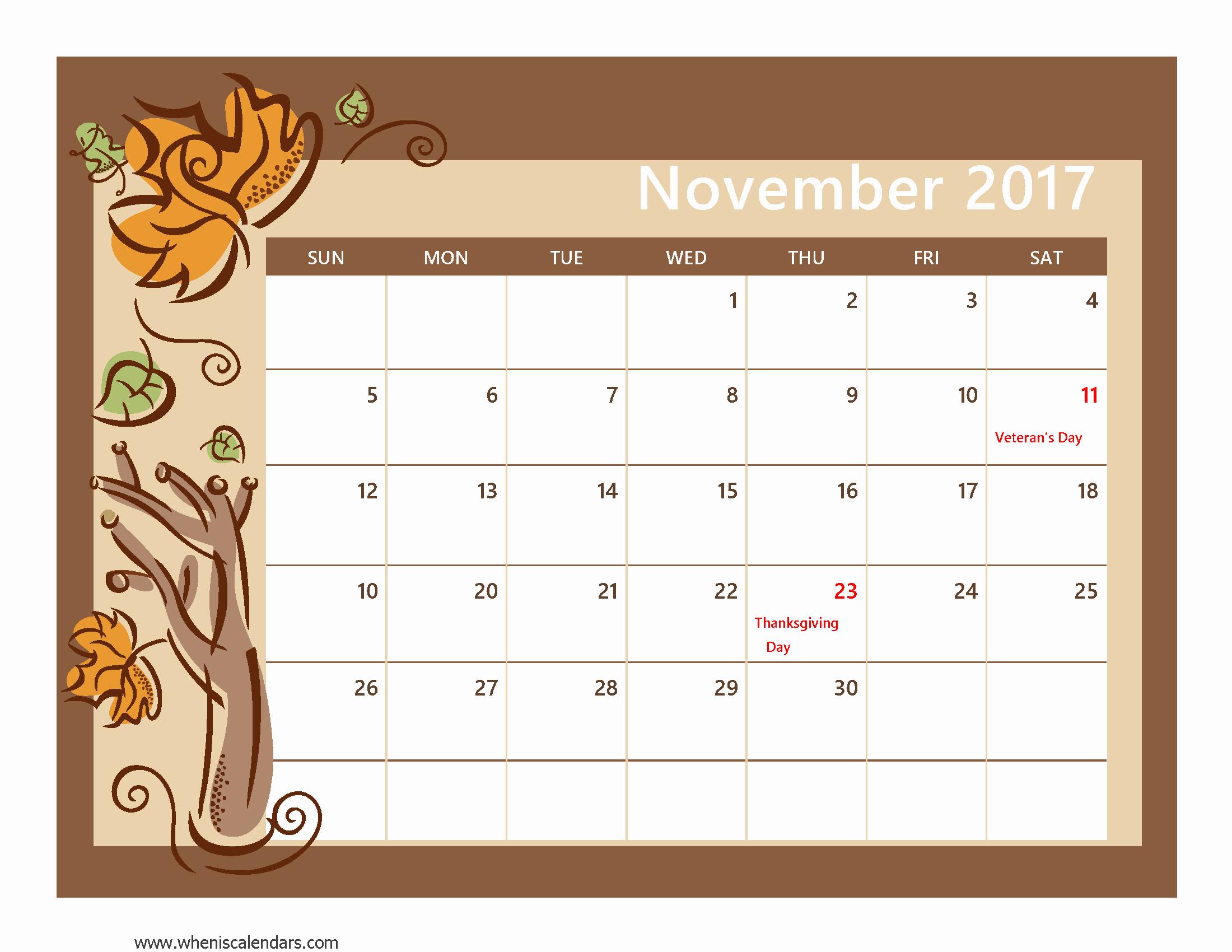 2017 Editable Calendar with Holidays Best Of November 2017 Calendar Printable with Holidays