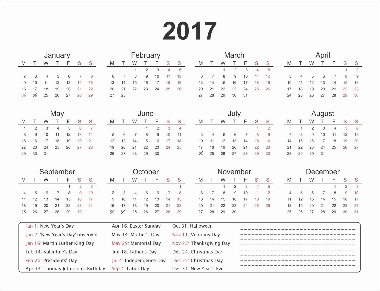 2017 Editable Calendar with Holidays Elegant Printable Calender Editable Template Calendar 2017