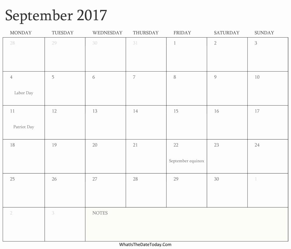 2017 Editable Calendar with Holidays Fresh Editable Calendar September 2017 with Holidays