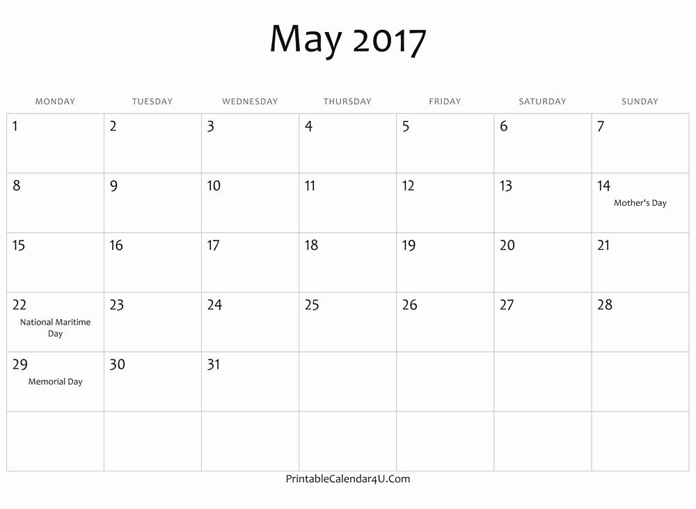 2017 Editable Calendar with Holidays Lovely May 2017 Calendar Word