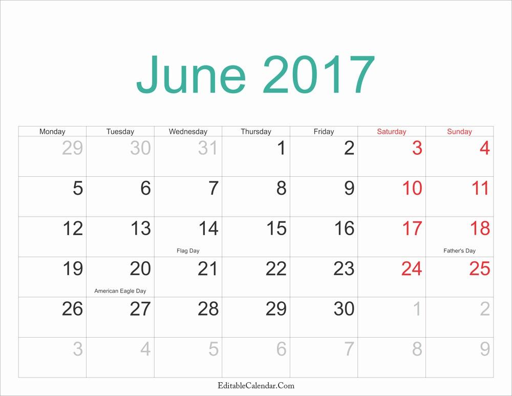2017 Editable Calendar with Holidays Luxury June Calendar 2017 Pdf Printable Monthly Calendar 2017