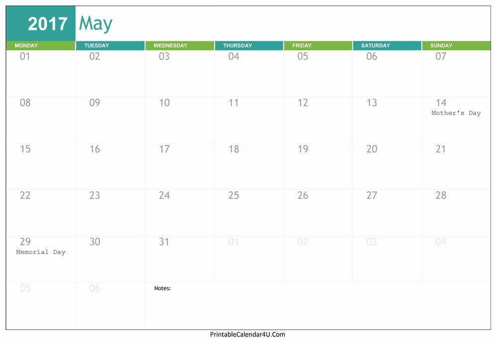 2017 Editable Calendar with Holidays Luxury May 2017 Calendar Word