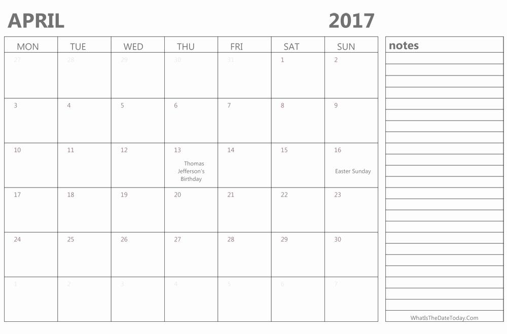 2017 Editable Calendar with Holidays New Editable April 2017 Calendar with Holidays and Notes