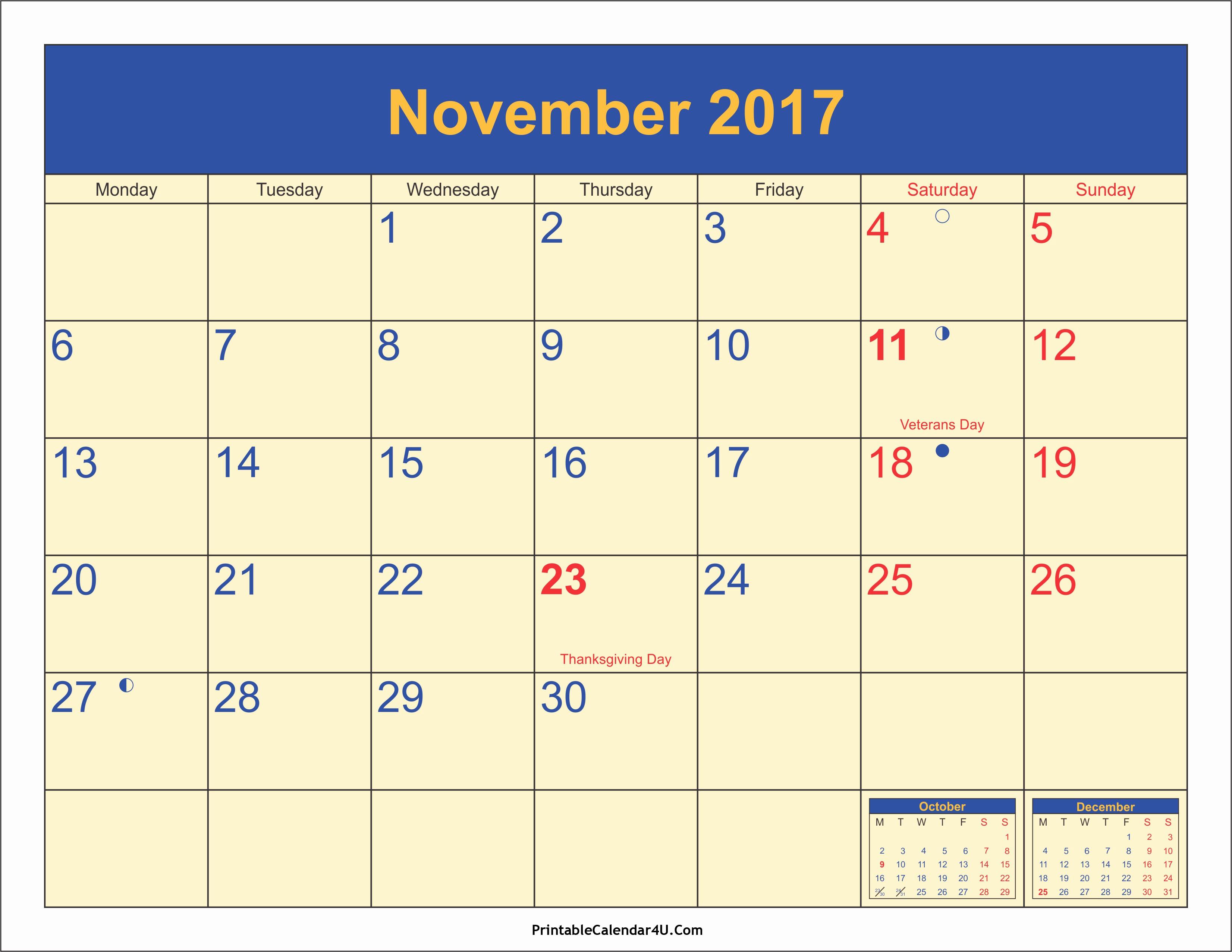 2017 Editable Calendar with Holidays New November 2017 Calendar with Holidays