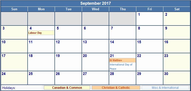 2017 Editable Calendar with Holidays New September 2017 Calendar with Holidays