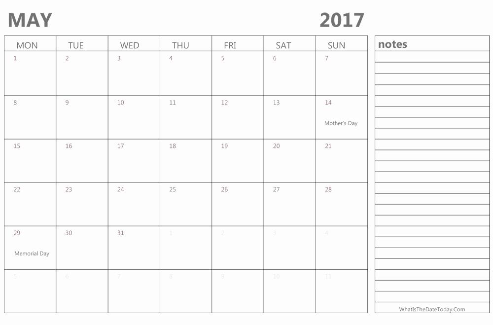 2017 Editable Calendar with Holidays Unique Editable May 2017 Calendar with Holidays and Notes